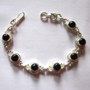 Adjustable vintage sterling silver & onyx bracelet